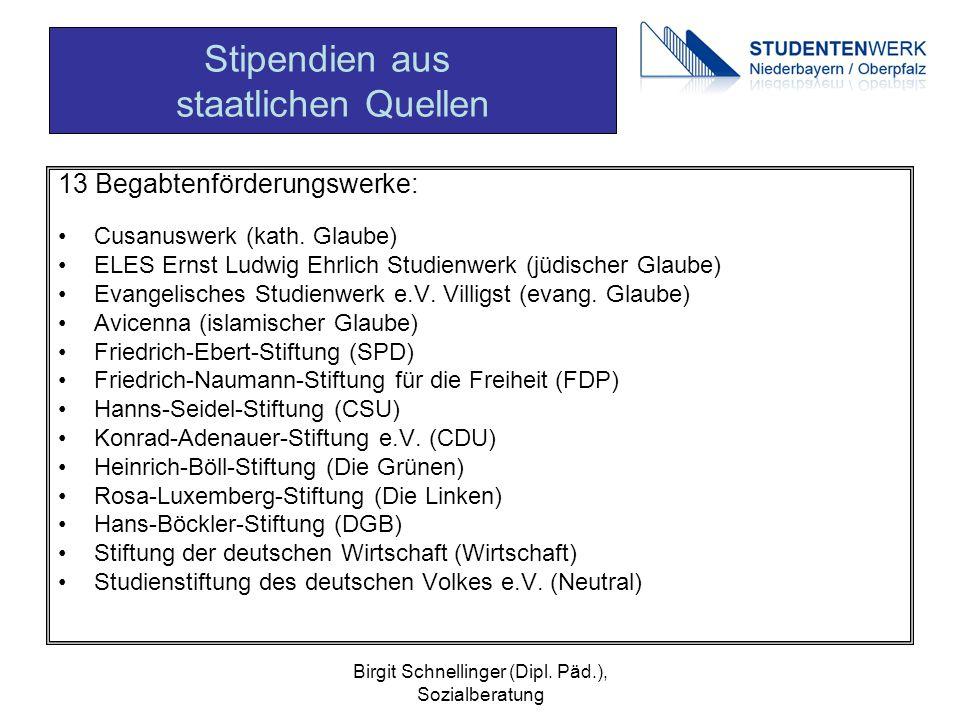 Birgit Schnellinger (Dipl. Päd.), Sozialberatung 13 Begabtenförderungswerke: Cusanuswerk (kath. Glaube) ELES Ernst Ludwig Ehrlich Studienwerk (jüdisch