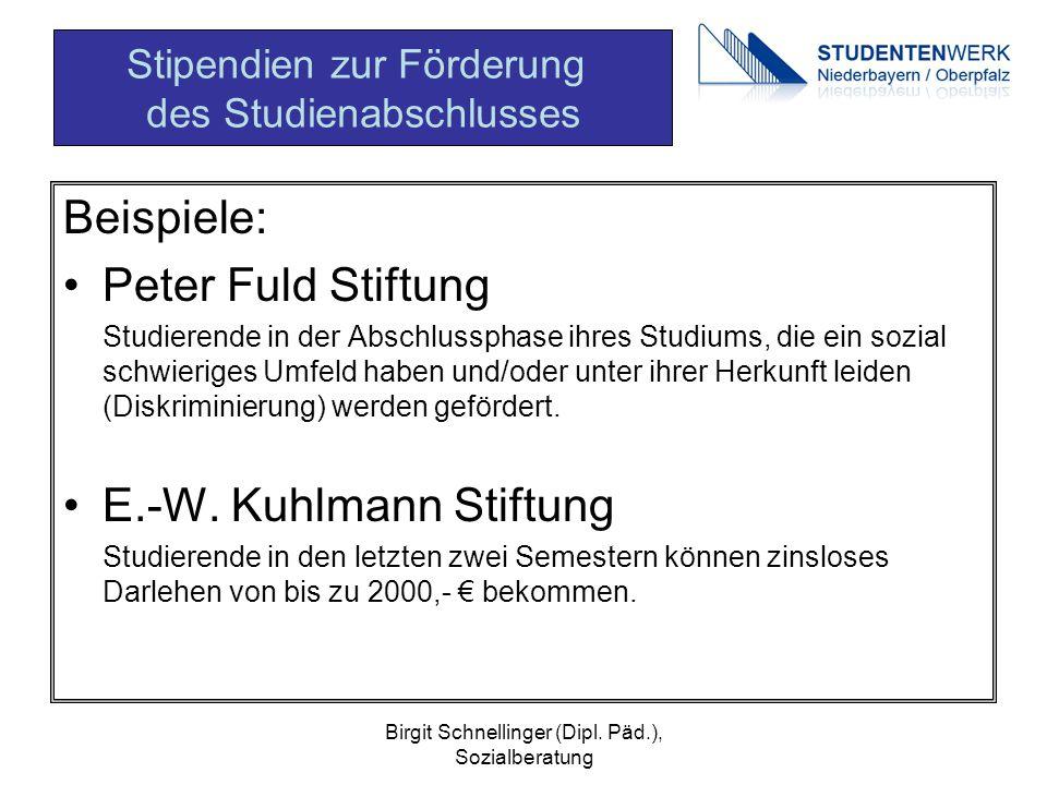 Birgit Schnellinger (Dipl. Päd.), Sozialberatung Beispiele: Peter Fuld Stiftung Studierende in der Abschlussphase ihres Studiums, die ein sozial schwi
