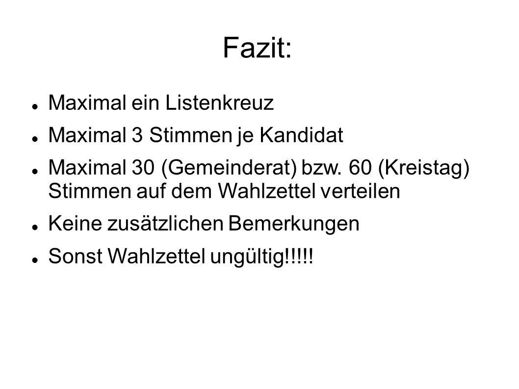 Fazit: Maximal ein Listenkreuz Maximal 3 Stimmen je Kandidat Maximal 30 (Gemeinderat) bzw.