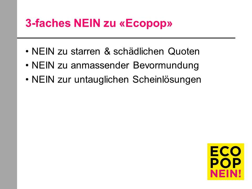 3-faches NEIN zu «Ecopop» NEIN zu starren & schädlichen Quoten NEIN zu anmassender Bevormundung NEIN zur untauglichen Scheinlösungen