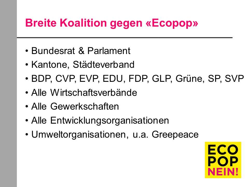 Breite Koalition gegen «Ecopop» Bundesrat & Parlament Kantone, Städteverband BDP, CVP, EVP, EDU, FDP, GLP, Grüne, SP, SVP Alle Wirtschaftsverbände Alle Gewerkschaften Alle Entwicklungsorganisationen Umweltorganisationen, u.a.