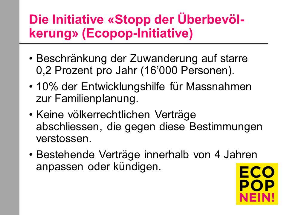 Die Initiative «Stopp der Überbevöl- kerung» (Ecopop-Initiative) Beschränkung der Zuwanderung auf starre 0,2 Prozent pro Jahr (16'000 Personen).