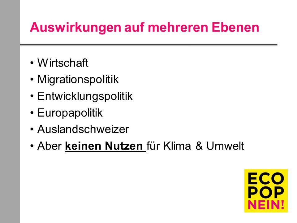 Auswirkungen auf mehreren Ebenen Wirtschaft Migrationspolitik Entwicklungspolitik Europapolitik Auslandschweizer Aber keinen Nutzen für Klima & Umwelt