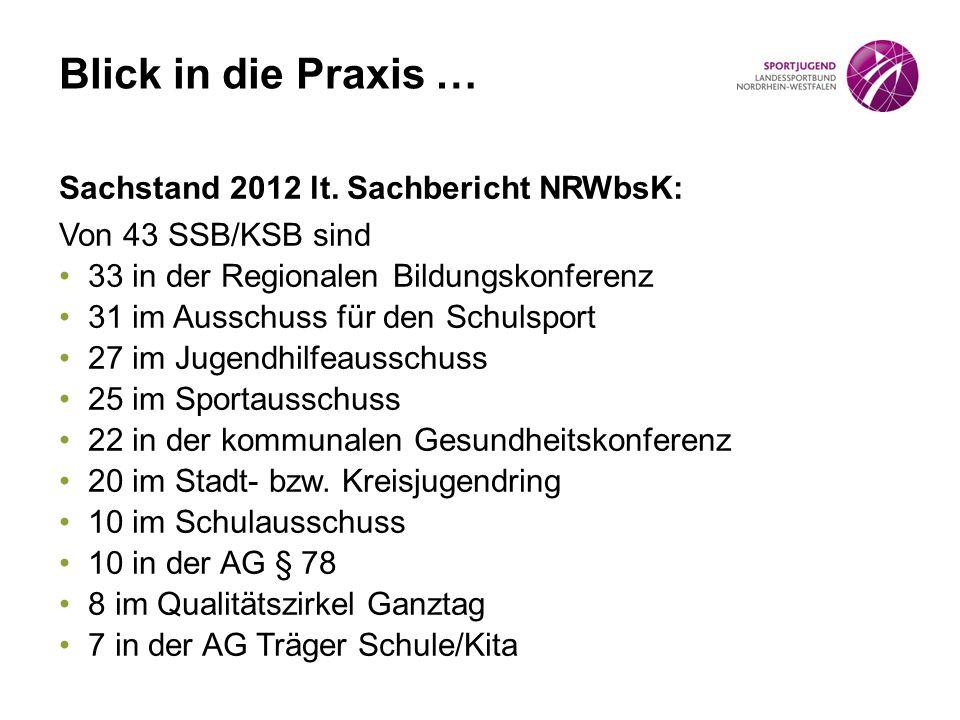 Blick in die Praxis … Sachstand 2012 lt. Sachbericht NRWbsK: Von 43 SSB/KSB sind 33 in der Regionalen Bildungskonferenz 31 im Ausschuss für den Schuls