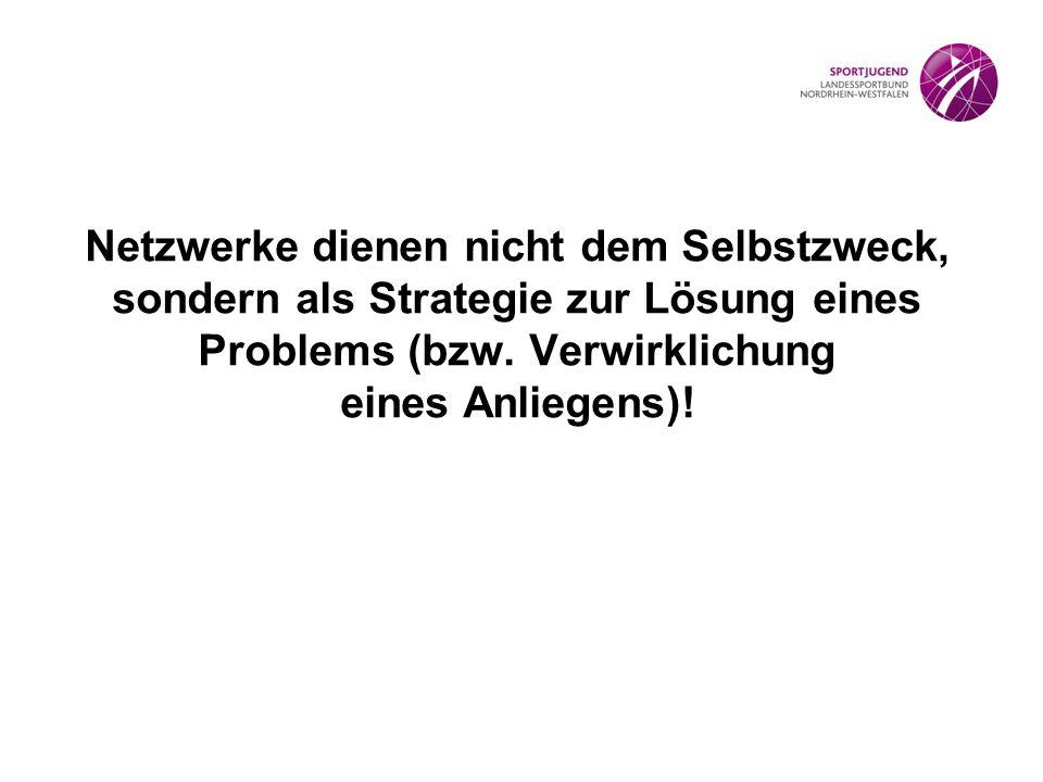 Netzwerke dienen nicht dem Selbstzweck, sondern als Strategie zur Lösung eines Problems (bzw. Verwirklichung eines Anliegens)!