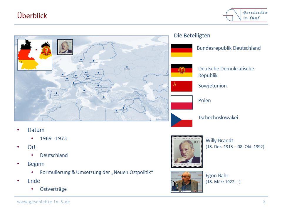 """www.geschichte-in-5.de Überblick Datum 1969 - 1973 Ort Deutschland Beginn Formulierung & Umsetzung der """"Neuen Ostpolitik"""" Ende Ostverträge 2 Die Betei"""
