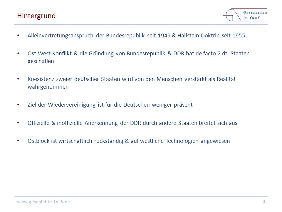www.geschichte-in-5.de Hintergrund Alleinvertretungsanspruch der Bundesrepublik seit 1949 & Hallstein-Doktrin seit 1955 Ost-West-Konflikt & die Gründu