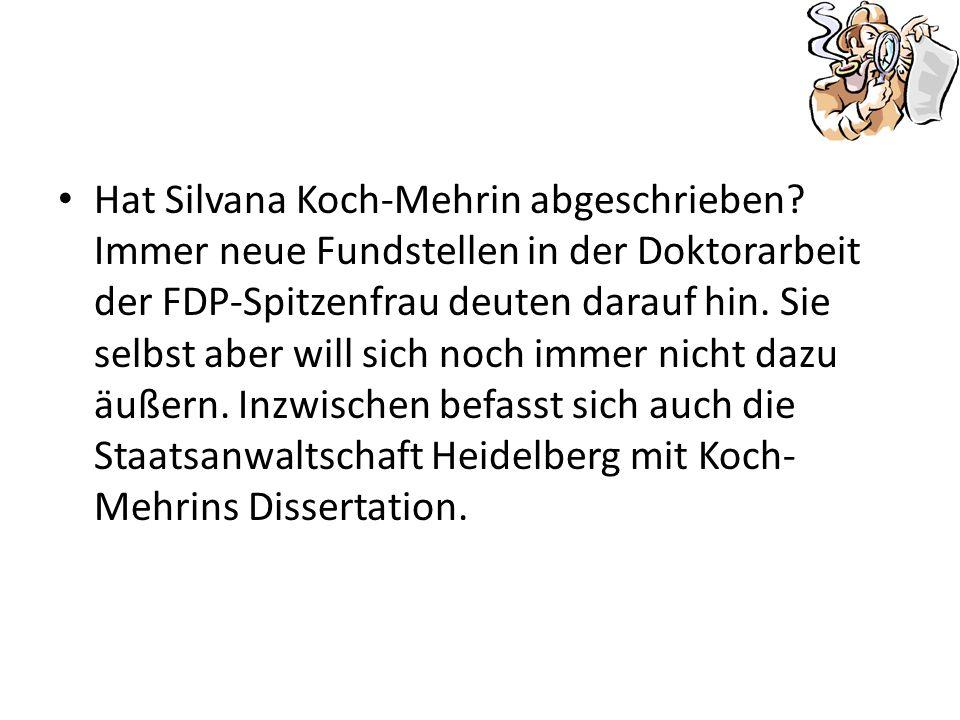 Hat Silvana Koch-Mehrin abgeschrieben.