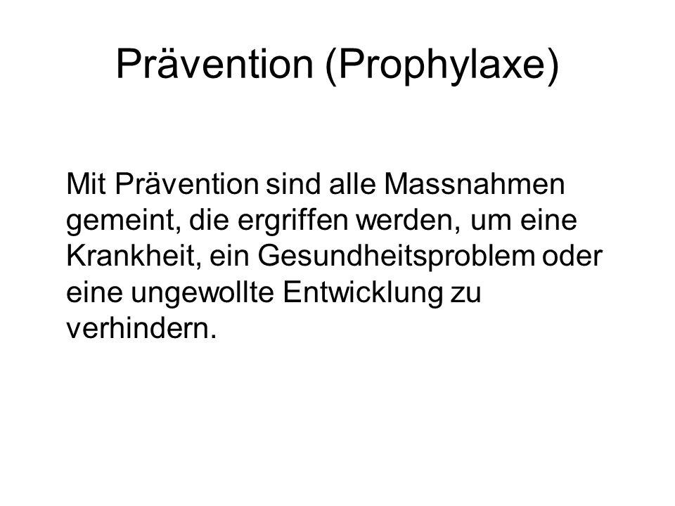 Prävention (Prophylaxe) Mit Prävention sind alle Massnahmen gemeint, die ergriffen werden, um eine Krankheit, ein Gesundheitsproblem oder eine ungewollte Entwicklung zu verhindern.