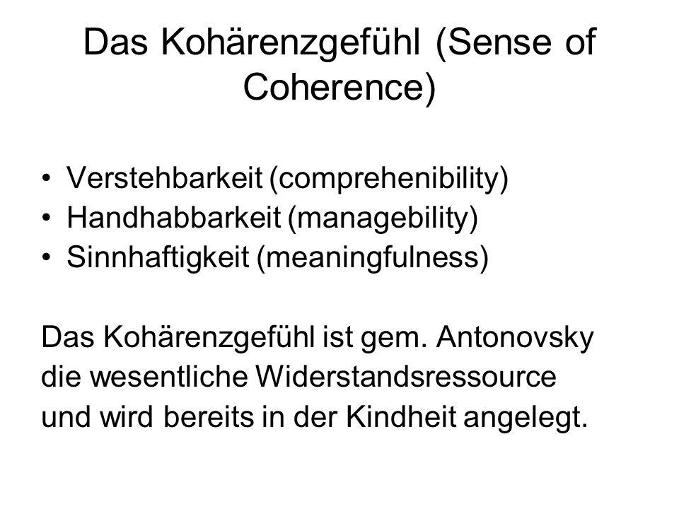 Das Kohärenzgefühl (Sense of Coherence) Verstehbarkeit (comprehenibility) Handhabbarkeit (managebility) Sinnhaftigkeit (meaningfulness) Das Kohärenzgefühl ist gem.