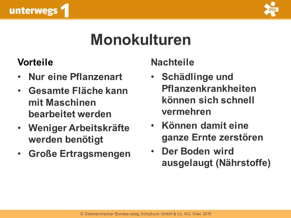 © Österreichischer Bundesverlag Schulbuch GmbH & Co. KG, Wien 2015 Monokulturen Vorteile Nur eine Pflanzenart Gesamte Fläche kann mit Maschinen bearbe