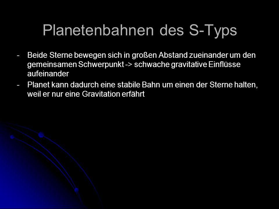 Planetenbahnen des S-Typs -Beide Sterne bewegen sich in großen Abstand zueinander um den gemeinsamen Schwerpunkt -> schwache gravitative Einflüsse auf