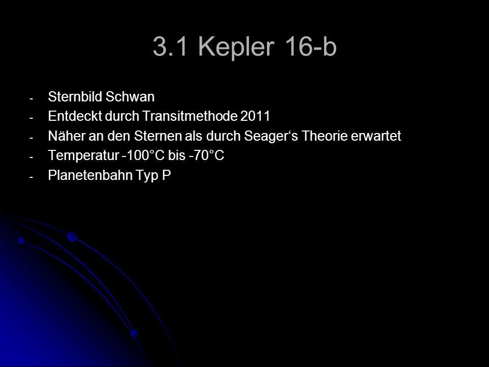 3.1 Kepler 16-b - - Sternbild Schwan - - Entdeckt durch Transitmethode 2011 - - Näher an den Sternen als durch Seager's Theorie erwartet - - Temperatu
