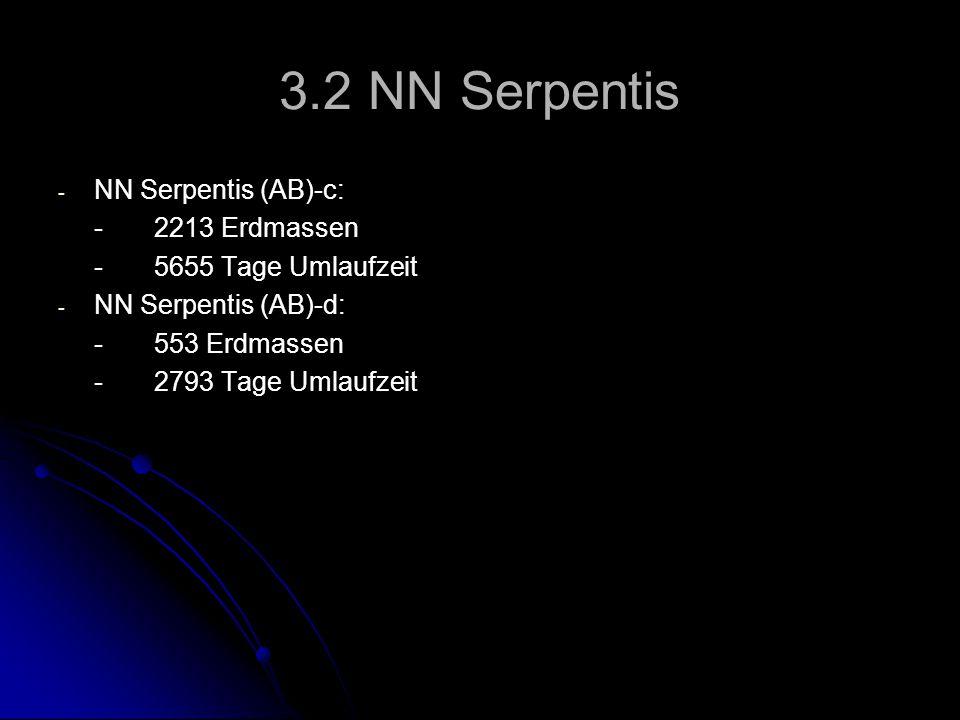 3.2 NN Serpentis - - NN Serpentis (AB)-c: -2213 Erdmassen -5655 Tage Umlaufzeit - - NN Serpentis (AB)-d: -553 Erdmassen -2793 Tage Umlaufzeit