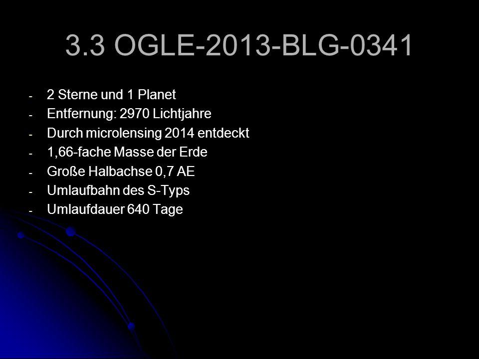 3.3 OGLE-2013-BLG-0341 - - 2 Sterne und 1 Planet - - Entfernung: 2970 Lichtjahre - - Durch microlensing 2014 entdeckt - - 1,66-fache Masse der Erde -