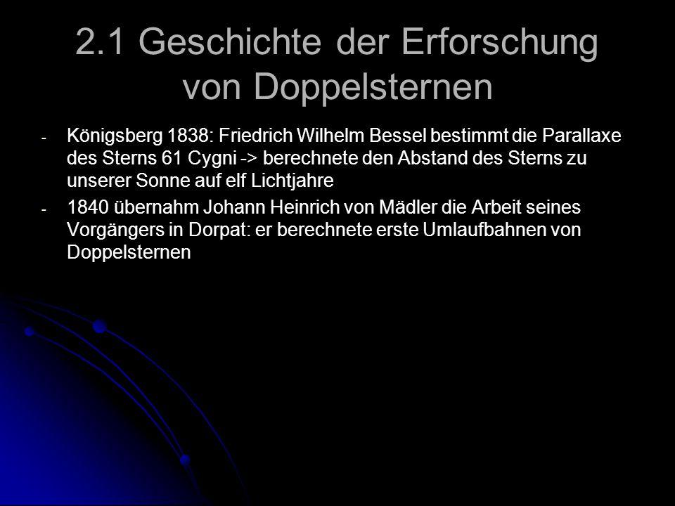 2.1 Geschichte der Erforschung von Doppelsternen - - Königsberg 1838: Friedrich Wilhelm Bessel bestimmt die Parallaxe des Sterns 61 Cygni -> berechnet
