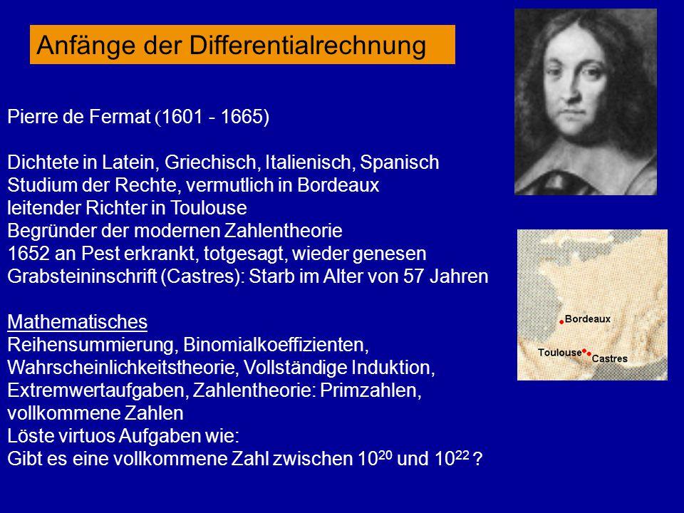 Pierre de Fermat  1601 - 1665) Dichtete in Latein, Griechisch, Italienisch, Spanisch Studium der Rechte, vermutlich in Bordeaux leitender Richter in