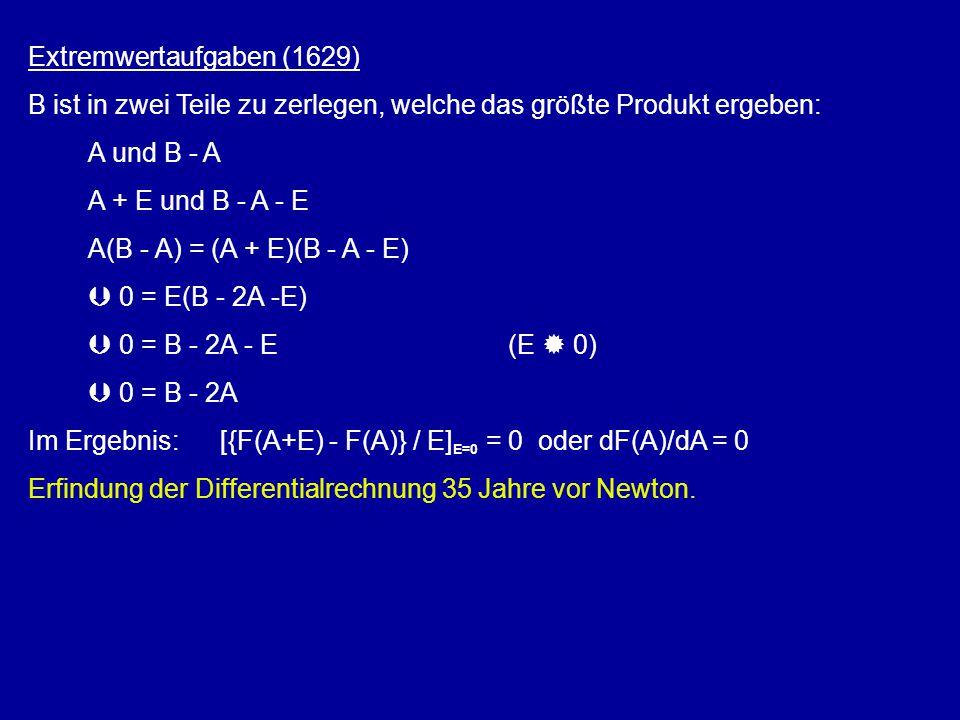 Extremwertaufgaben (1629) B ist in zwei Teile zu zerlegen, welche das größte Produkt ergeben: A und B - A A + E und B - A - E A(B - A) = (A + E)(B - A