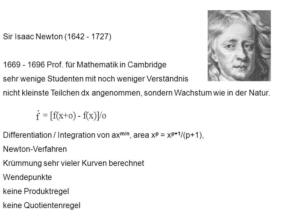 Sir Isaac Newton (1642 - 1727) 1669 - 1696 Prof. für Mathematik in Cambridge sehr wenige Studenten mit noch weniger Verständnis nicht kleinste Teilche