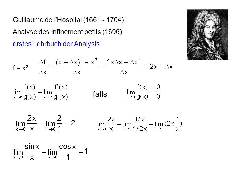 Guillaume de l'Hospital (1661 - 1704) Analyse des infinement petits (1696) erstes Lehrbuch der Analysis f = x 2 falls