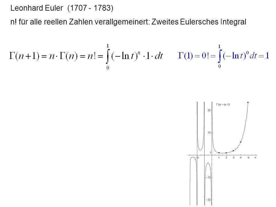 Leonhard Euler (1707 - 1783) n! für alle reellen Zahlen verallgemeinert: Zweites Eulersches Integral