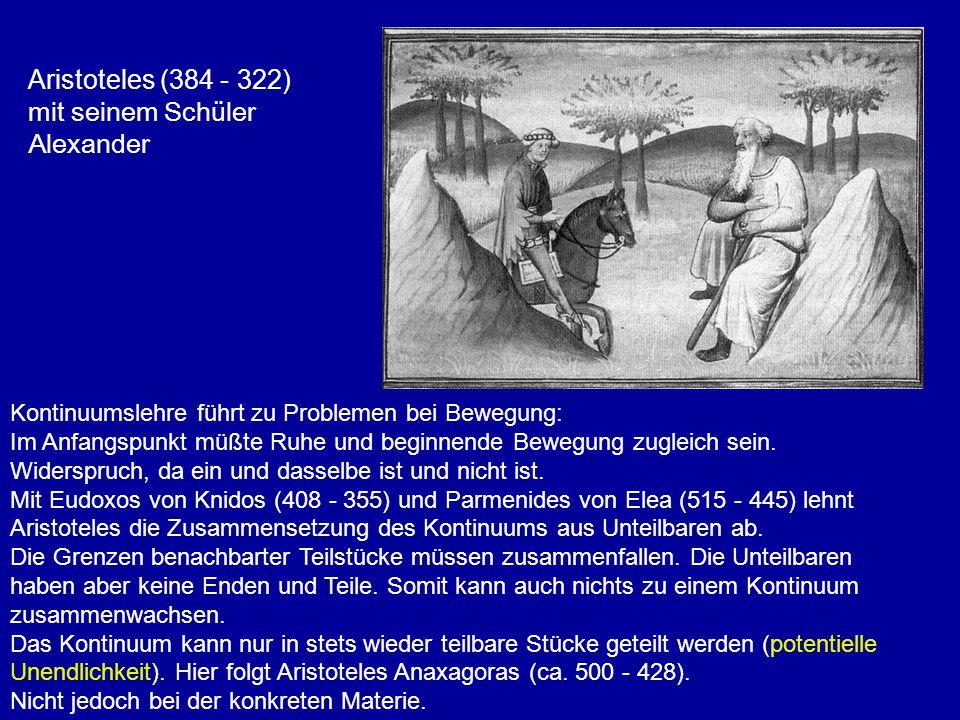 Aristoteles (384 - 322) mit seinem Schüler Alexander Kontinuumslehre führt zu Problemen bei Bewegung: Im Anfangspunkt müßte Ruhe und beginnende Bewegu