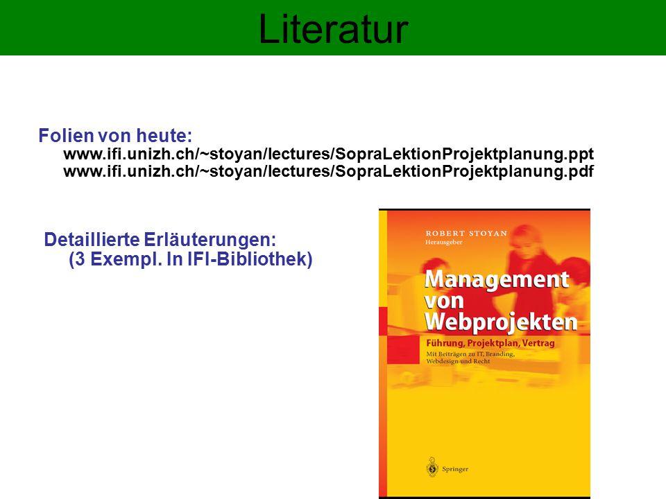 Literatur Detaillierte Erläuterungen: (3 Exempl.