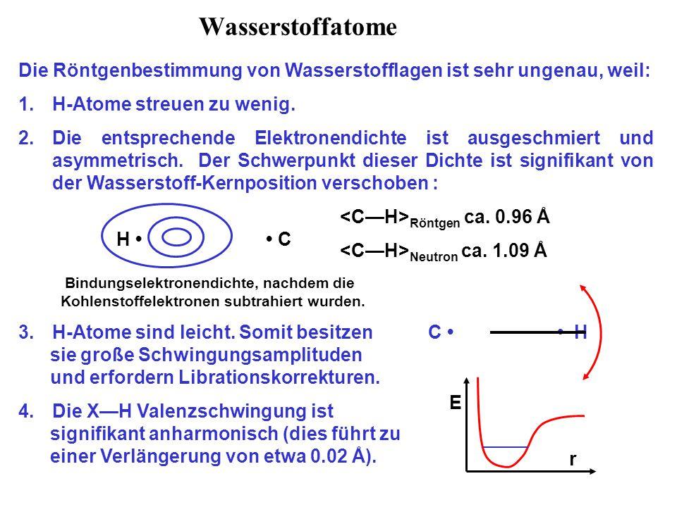 Wasserstoffatome Die Röntgenbestimmung von Wasserstofflagen ist sehr ungenau, weil: 1.H-Atome streuen zu wenig. 2.Die entsprechende Elektronendichte i