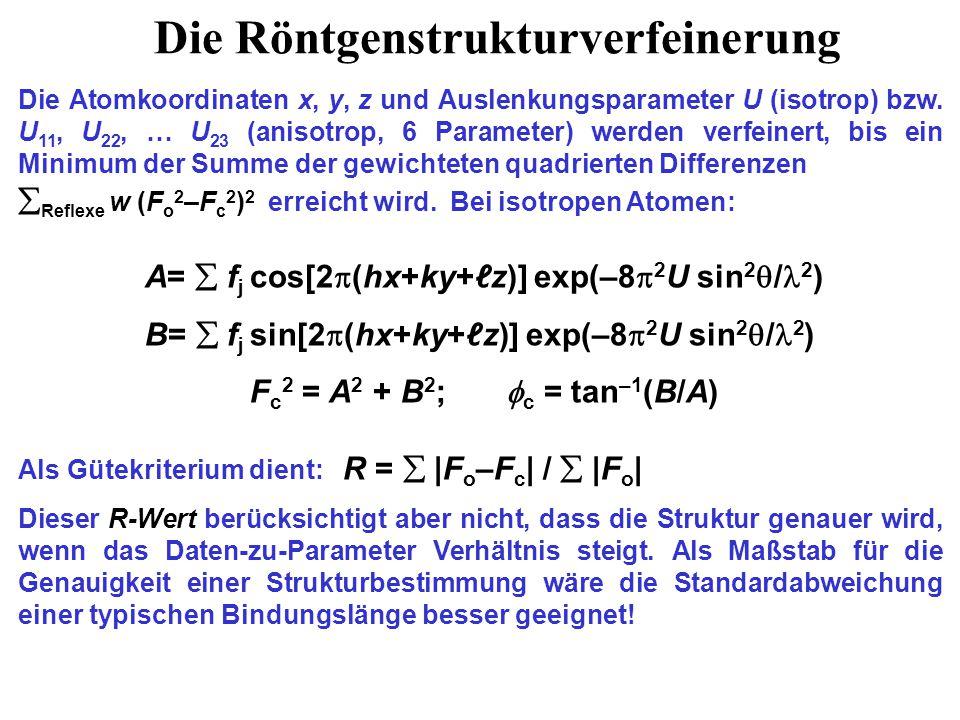 Für anisotrope Atome wird exp(–8  2 U sin 2  / 2 ) in der Strukturfaktor- Berechnung ersetzt durch: exp{– 2  2 [U 11 h 2 a* 2 +U 22 k 2 b* 2 +U 33 ℓ 2 c* 2 +2U 23 kℓb*c*+2U 13 hℓa*c*+2U 12 hka*b*]} Nach anisotroper Verfeinerung werden die Atome mit 50%-Aufenthalts- wahrscheinlichkeitsellipsoiden (ORTEP-Diagramm) dargestellt.