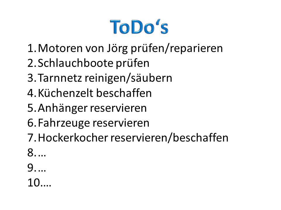 1.Motoren von Jörg prüfen/reparieren 2.Schlauchboote prüfen 3.Tarnnetz reinigen/säubern 4.Küchenzelt beschaffen 5.Anhänger reservieren 6.Fahrzeuge reservieren 7.Hockerkocher reservieren/beschaffen 8.… 9.… 10.…