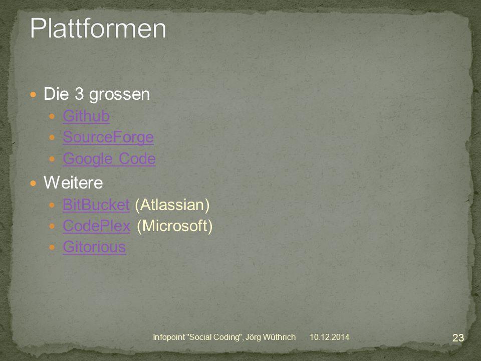 Die 3 grossen Github SourceForge Google Code Weitere BitBucket (Atlassian) BitBucket CodePlex (Microsoft) CodePlex Gitorious 10.12.2014 23 Infopoint Social Coding , Jörg Wüthrich