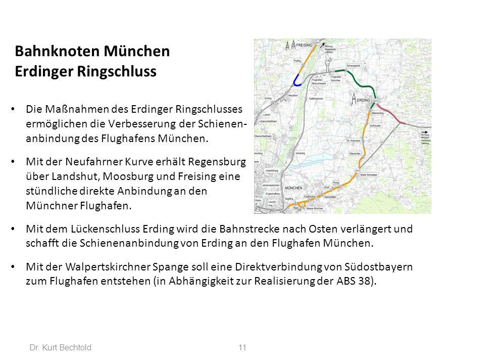 11 Bahnknoten München Erdinger Ringschluss Die Maßnahmen des Erdinger Ringschlusses ermöglichen die Verbesserung der Schienen- anbindung des Flughafen