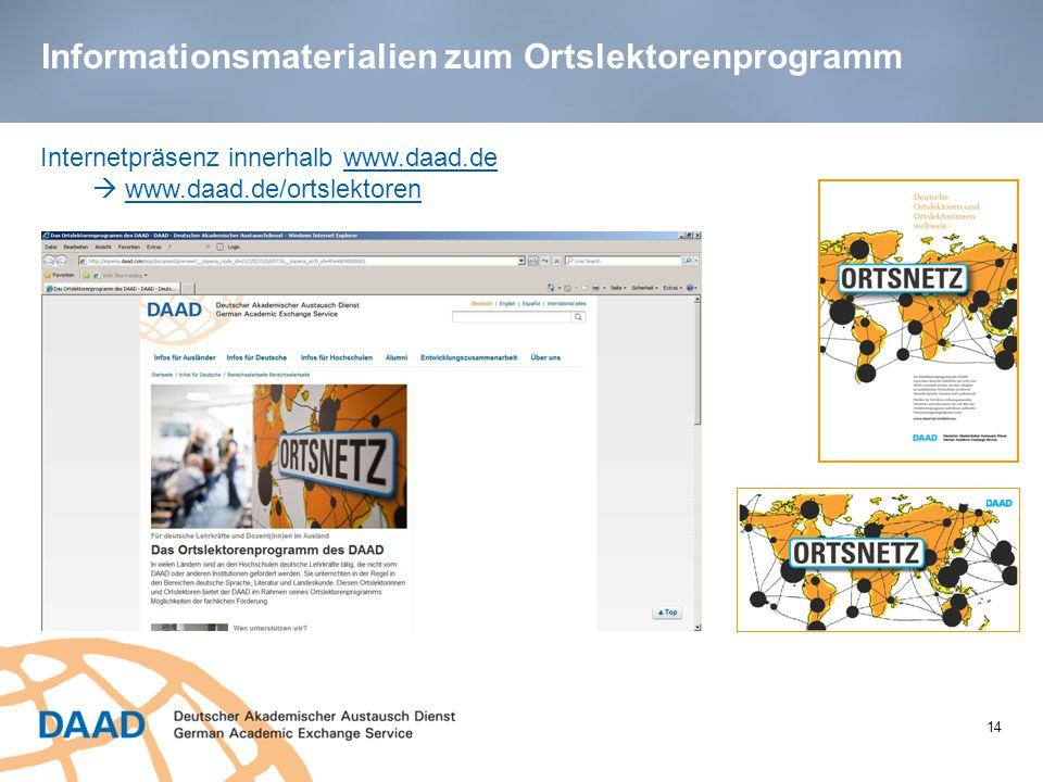Informationsmaterialien zum Ortslektorenprogramm 14 Internetpräsenz innerhalb www.daad.de  www.daad.de/ortslektoren