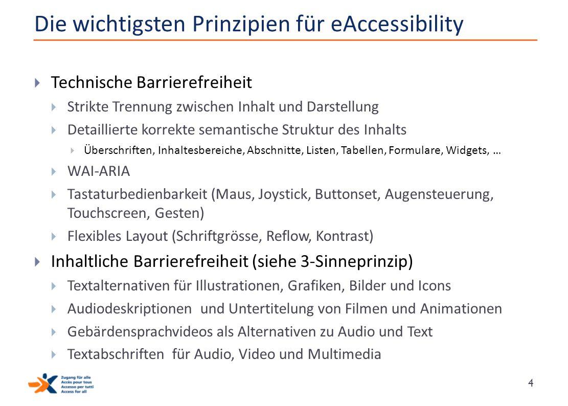 Die wichtigsten Prinzipien für eAccessibility  Technische Barrierefreiheit  Strikte Trennung zwischen Inhalt und Darstellung  Detaillierte korrekte