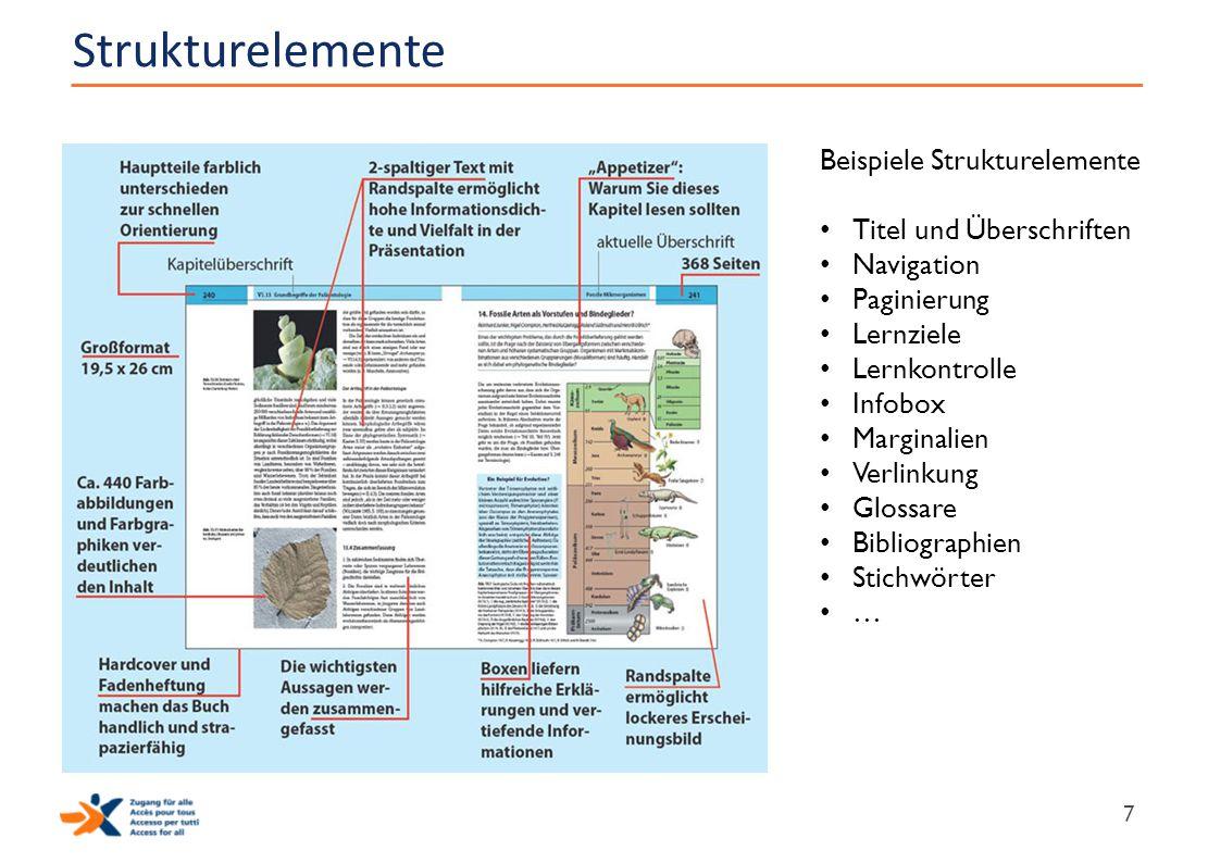 Strukturelemente 7 Beispiele Strukturelemente Titel und Überschriften Navigation Paginierung Lernziele Lernkontrolle Infobox Marginalien Verlinkung Gl