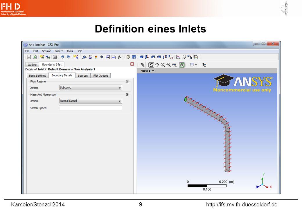 Kameier/Stenzel 2014 9 http://ifs.mv.fh-duesseldorf.de Definition eines Inlets
