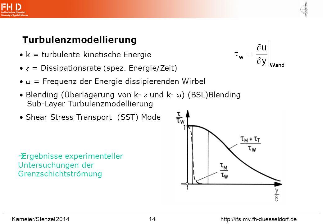 Kameier/Stenzel 2014 14 http://ifs.mv.fh-duesseldorf.de Turbulenzmodellierung k = turbulente kinetische Energie  = Dissipationsrate (spez.