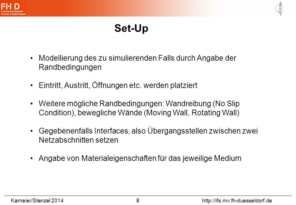 Kameier/Stenzel 2014 8 http://ifs.mv.fh-duesseldorf.de Set-Up Modellierung des zu simulierenden Falls durch Angabe der Randbedingungen Eintritt, Austritt, Öffnungen etc.