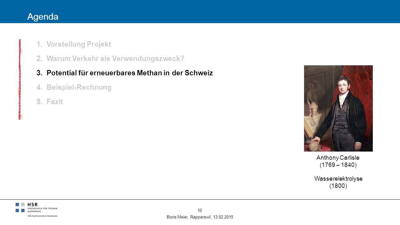 Agenda 1. Vorstellung Projekt 2. Warum Verkehr als Verwendungszweck? 3. Potential für erneuerbares Methan in der Schweiz 4. Beispiel-Rechnung 5. Fazit