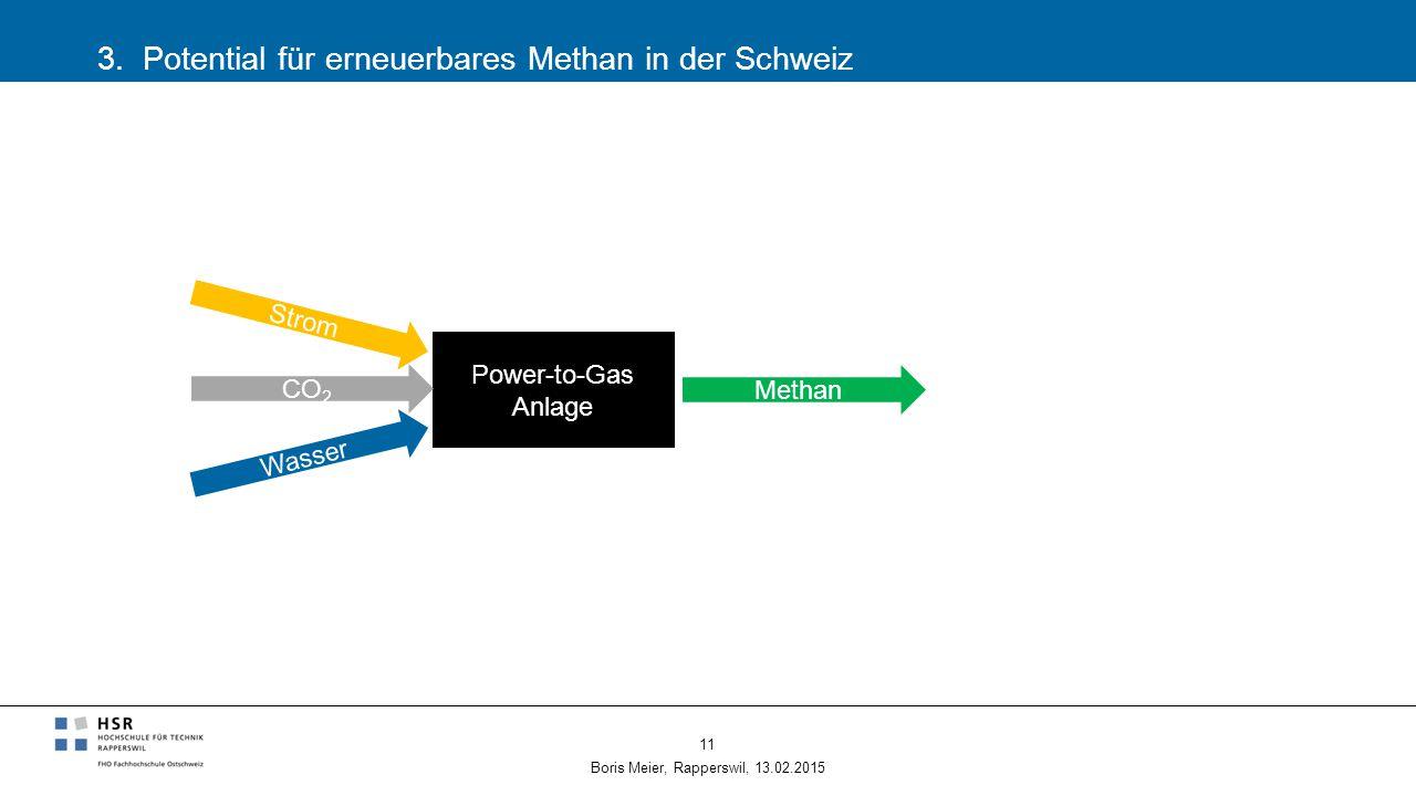 3. Potential für erneuerbares Methan in der Schweiz Boris Meier, Rapperswil, 13.02.2015 11 Power-to-Gas Anlage CO 2 Methan Wasser Strom