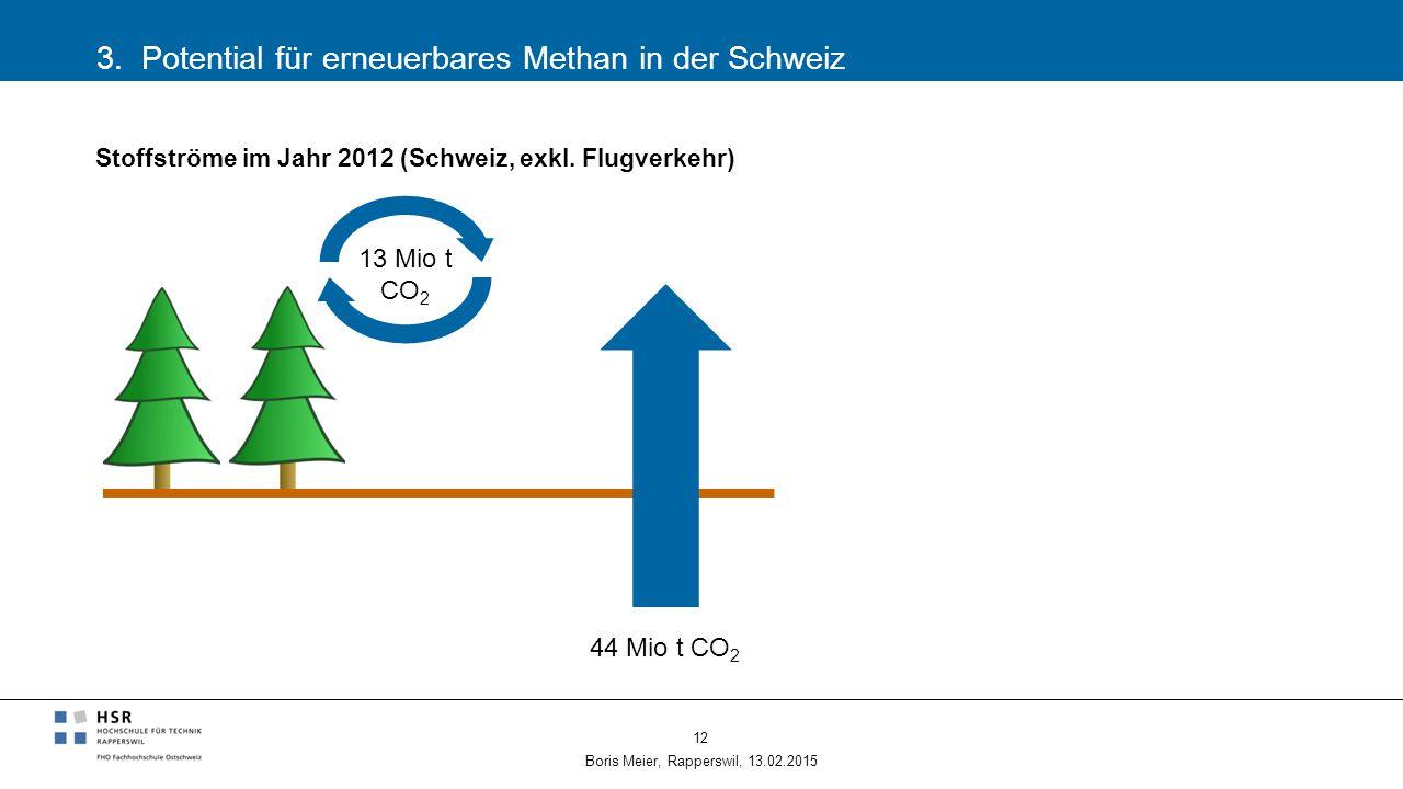 3. Potential für erneuerbares Methan in der Schweiz Boris Meier, Rapperswil, 13.02.2015 12 44 Mio t CO 2 Stoffströme im Jahr 2012 (Schweiz, exkl. Flug