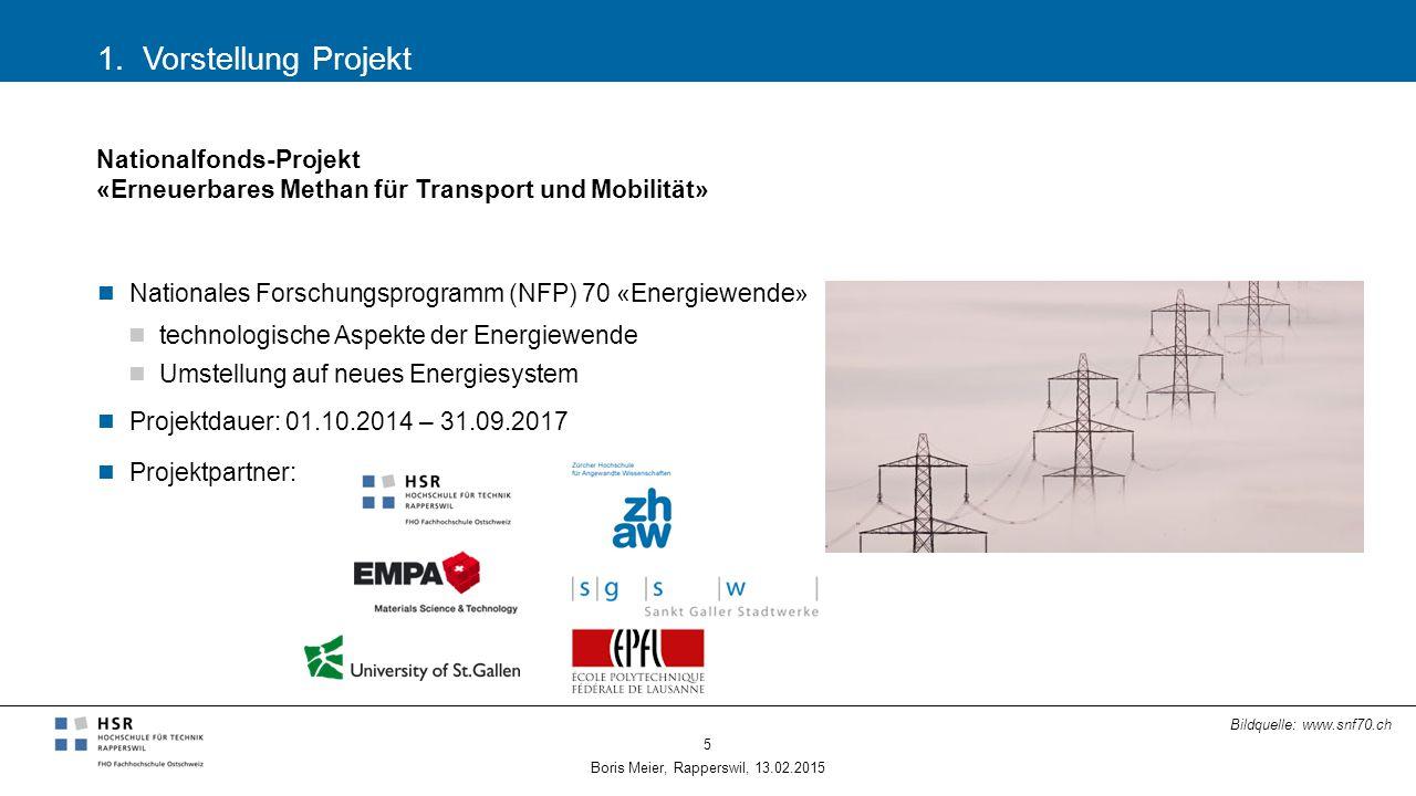 1. Vorstellung Projekt Boris Meier, Rapperswil, 13.02.2015 5 Nationalfonds-Projekt «Erneuerbares Methan für Transport und Mobilität» Nationales Forsch