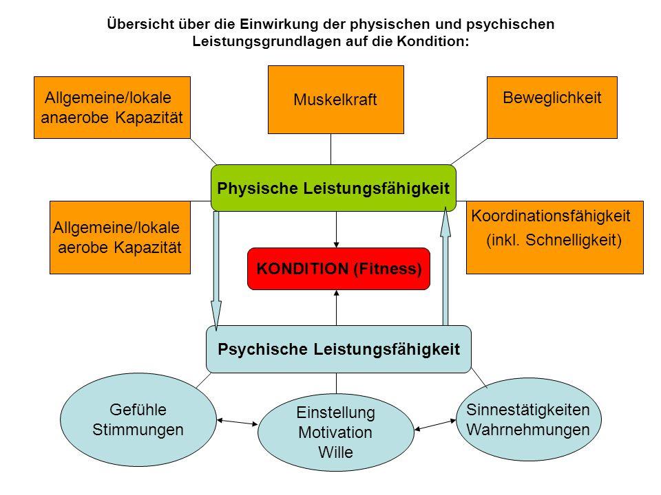 Übersicht über die Einwirkung der physischen und psychischen Leistungsgrundlagen auf die Kondition: KONDITION (Fitness) Physische Leistungsfähigkeit Psychische Leistungsfähigkeit Muskelkraft Beweglichkeit Koordinationsfähigkeit (inkl.