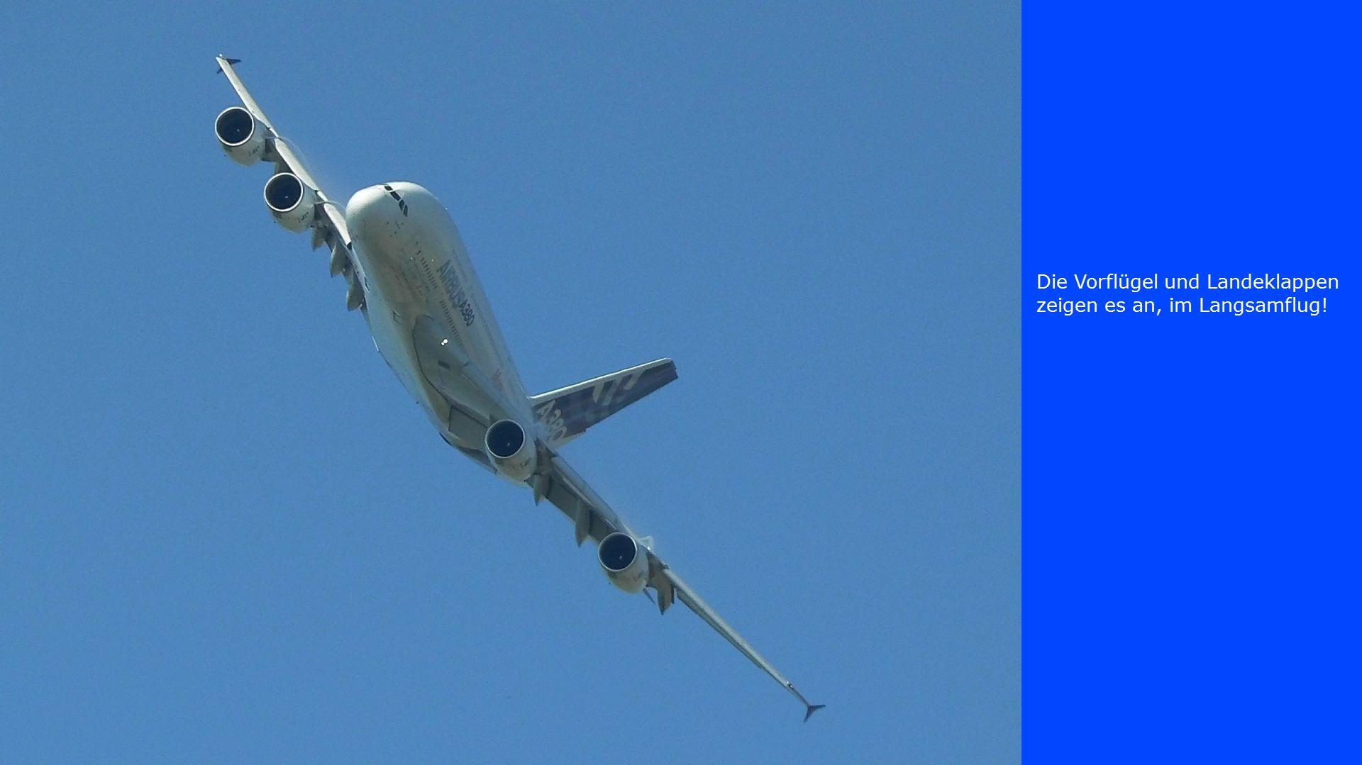 Die Vorflügel und Landeklappen zeigen es an, im Langsamflug!