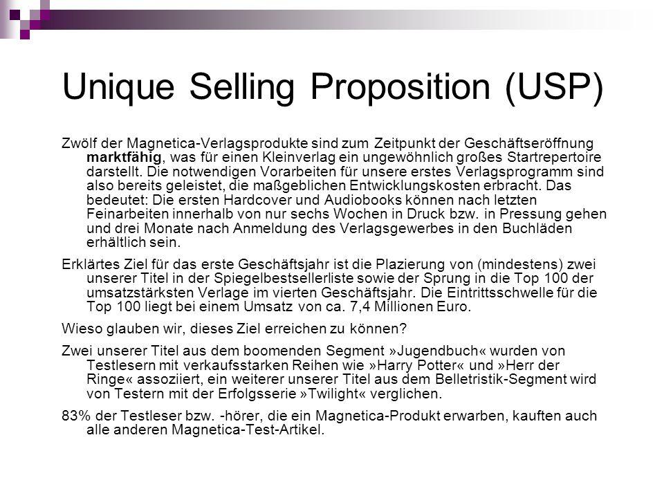 Unique Selling Proposition (USP) Zwölf der Magnetica-Verlagsprodukte sind zum Zeitpunkt der Geschäftseröffnung marktfähig, was für einen Kleinverlag e