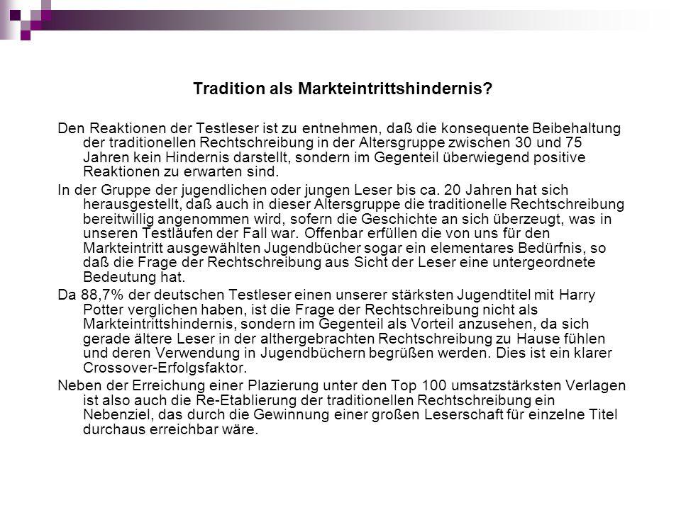 Tradition als Markteintrittshindernis? Den Reaktionen der Testleser ist zu entnehmen, daß die konsequente Beibehaltung der traditionellen Rechtschreib
