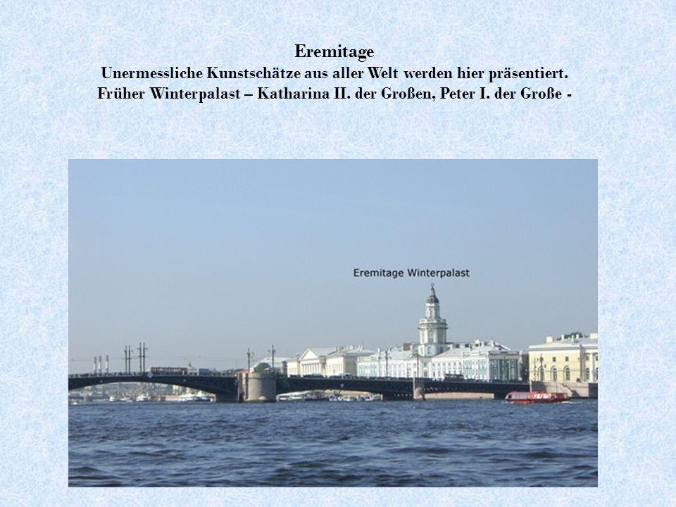 Die Geschichte der Stadt Sankt Petersburg begann mit dem Bau der Peter-Paul-Festung auf der Haseninsel.