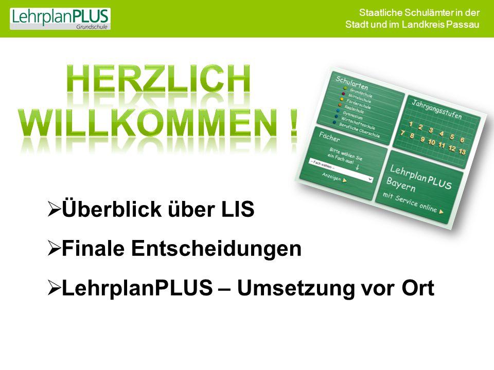 Staatliche Schulämter in der Stadt und im Landkreis Passau  Überblick über LIS  Finale Entscheidungen  LehrplanPLUS – Umsetzung vor Ort