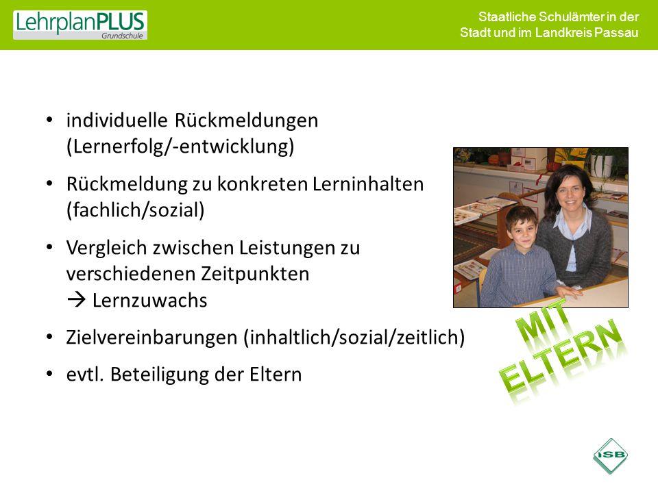 Staatliche Schulämter in der Stadt und im Landkreis Passau individuelle Rückmeldungen (Lernerfolg/-entwicklung) Rückmeldung zu konkreten Lerninhalten
