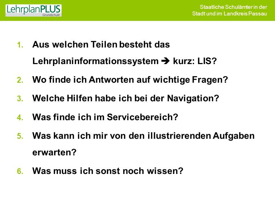 Staatliche Schulämter in der Stadt und im Landkreis Passau 1. Aus welchen Teilen besteht das Lehrplaninformationssystem  kurz: LIS? 2. Wo finde ich A